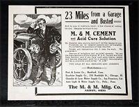 1907 OLD MAGAZINE PRINT AD, M & M CEMENT & ACID CURE SOLUTION, AUTOMOBILE TIRES!