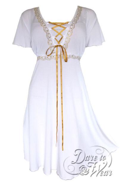Plus Size Gothic Renaissance Angel Corset Dress White Gold Lace 1X 2X 3X 4X 5X