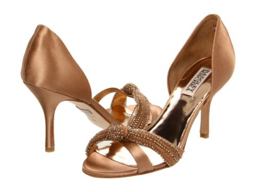 Badgley Mischka Womens Ryanne Brown Natural Satin Fashion Open-toe Heels