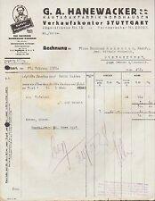 NORDHAUSEN u. STUTTGART, Rechnung 1928, Kautabak-Fabrik G. A. Hanewacker GmbH