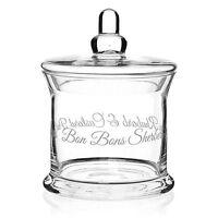Script Vintage Retro Glass Sweet Candy Bon Bon Wedding Favour Large Storage Jar
