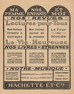 Y9555-La-Vie-Heureuse-Hachette-Pubblicita-d-039-epoca-1905-Old-advertising