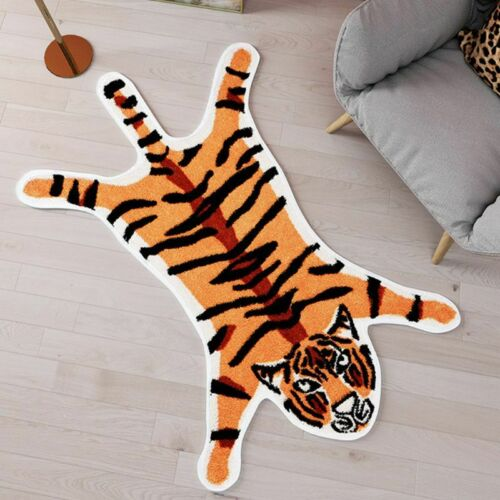 Carton Tiger Print Area Rug Faux Skin Rug Hide Cute Carpet Floor Mat Home Decor
