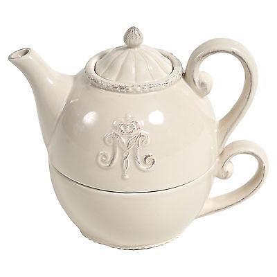 Teetasse mit Kännchen,Landhaus,Vintage, Monogramm, creme-beige