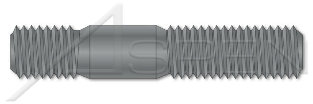 Double-Ended Stud with Plain Center Plain Grade 8 Steel DIN 939 Screw-in End 1.25 X Diameter Metric 20 pcs M16-2.0 X 35mm