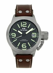 TW-Steel-Men-039-s-Canteen-TWCS21-Brushed-Steel-Black-Dial-Leather-Strap-Watch