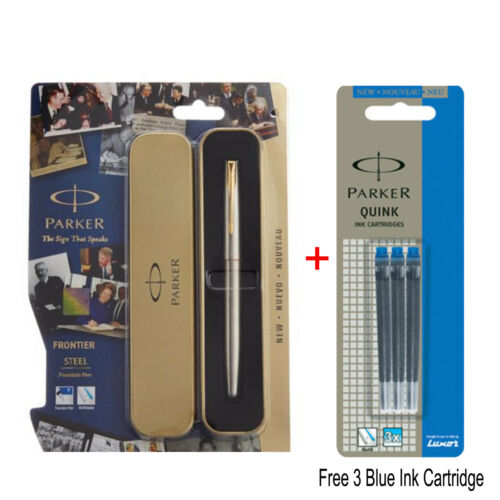 New Parker Frontier Stainless Steel GT Ink Fountain Pen Free 6 Blue Ink 06//2018