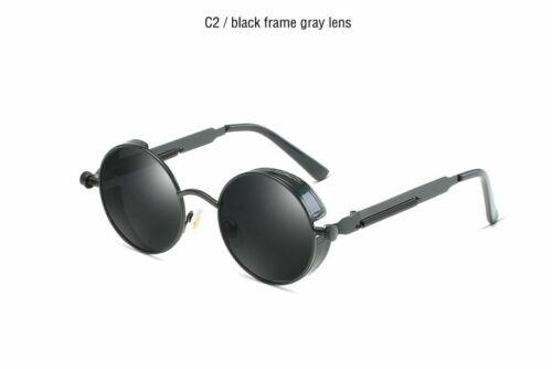 Classic Gothic Steampunk Polarized Sunglasses Vintage Round Metal Frame Glasses