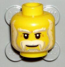 LEGO Yellow Minifig Head White Beard Moustache Santa/King 70404