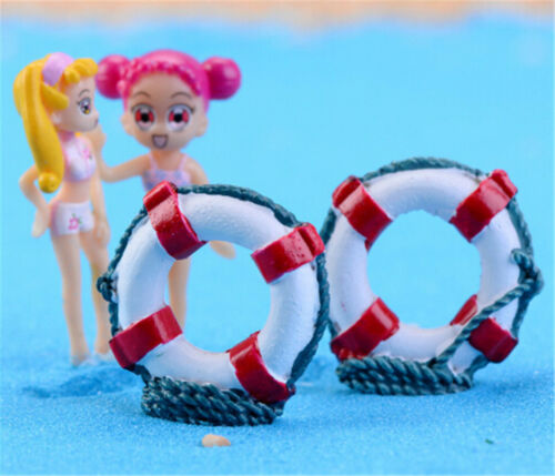 2pcs Dollhouse Miniature Deco Fake Resin Swim Ring life Buoys Kids Dollhouse  Lp