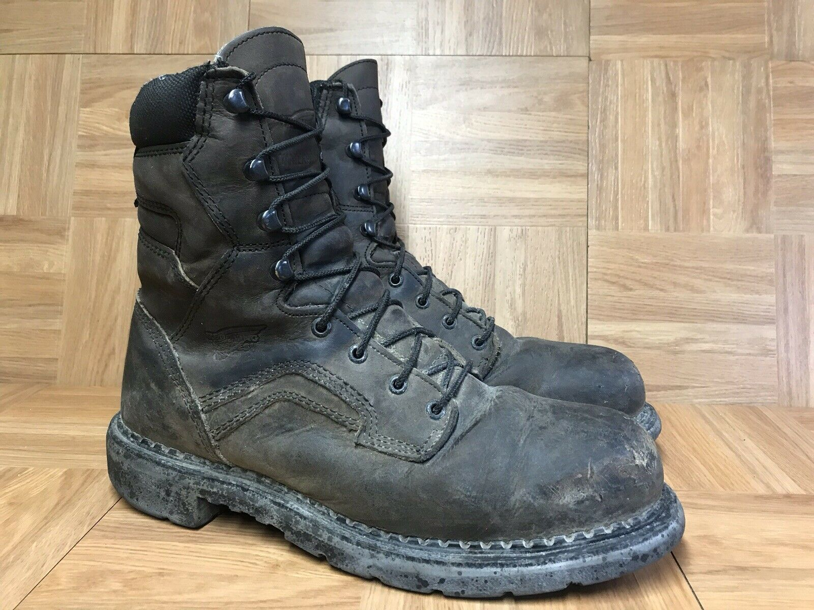 RARE  rouge Wing Electrical 8  4414 Steel Toe Work bottes Sz 10.5 made in USA brwn