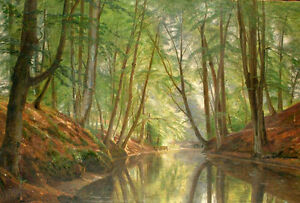 Dream-art Oil painting nice summer landscape Woodland river with forest canvas