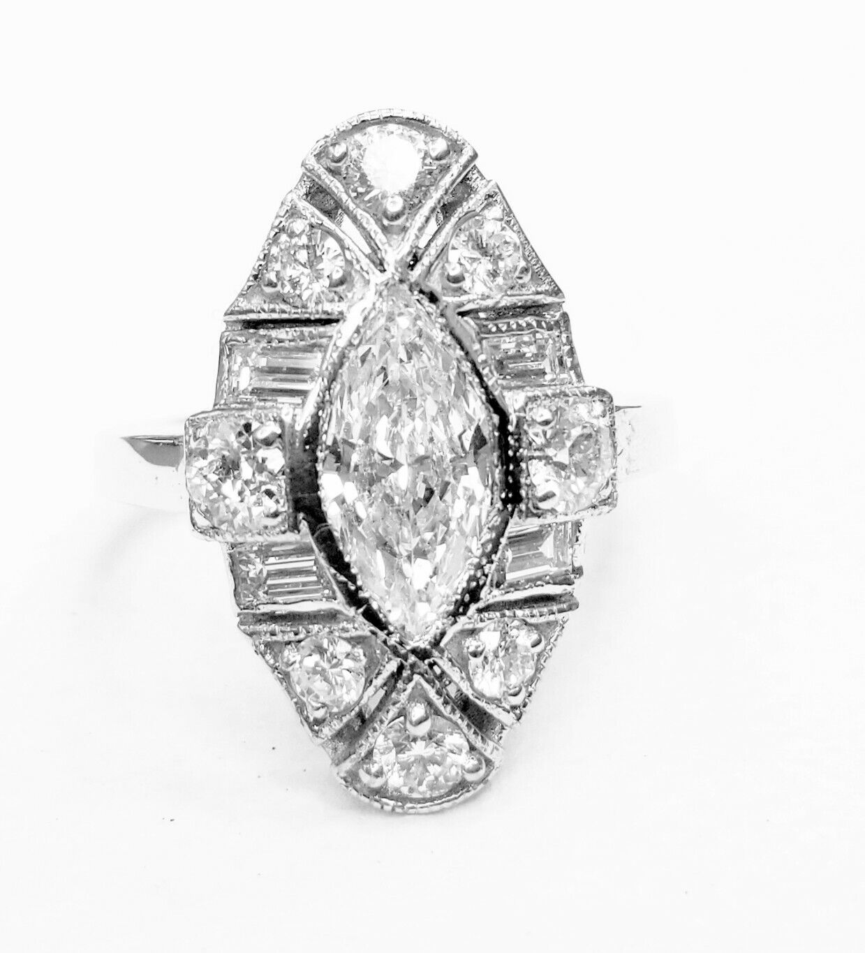 248a5b5c1484a 2.72ct gold white 14k VS-H Diamond marquise natural ring deco art ...