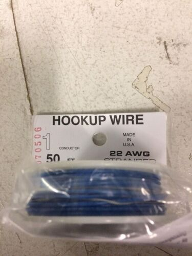 Wire Works # 122070506 #22 Gauge 1-Conductor Hookup Wire 50/' 15.2m Blue MIB