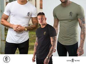 Gym-King-Men-039-s-Curved-Hem-Long-line-Slim-Fit-TEE-Shirt