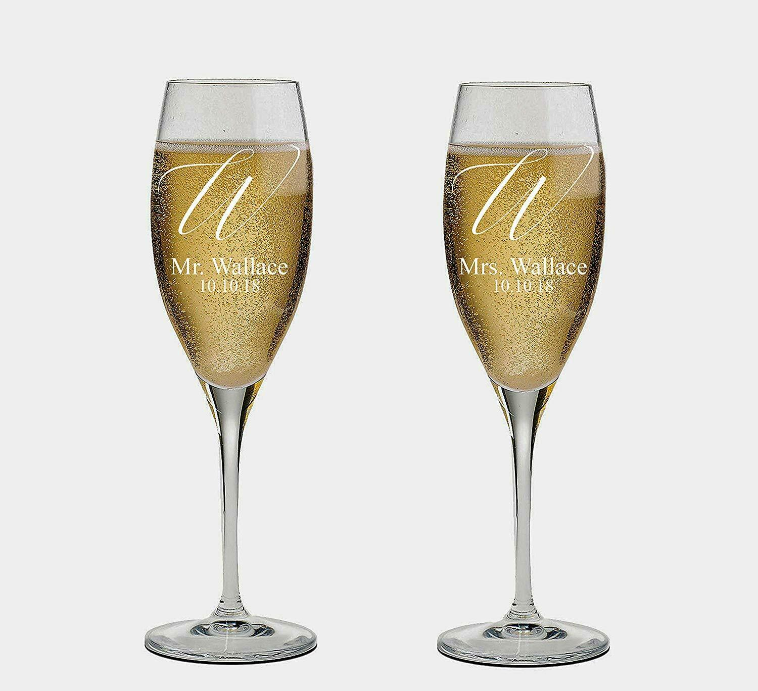 Last name engraved Personalized set of 2 Champagne Glass, Glass, Glass, Champagne Flutes,Cute dfeac0