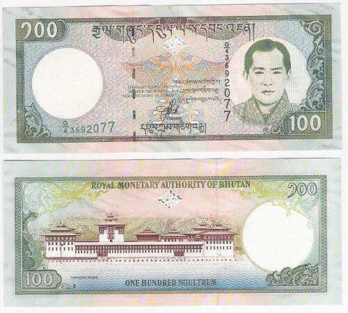 Bhutan 100 Ngultrum 2000 P 25 Tashichno Dzong Temple Palace Banknotes UNC