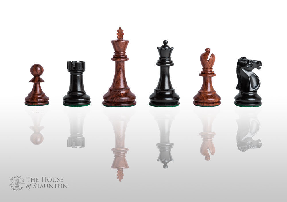 The Reykjavik Elite Chess Set - Pieces Only - 3.75  King - golden pinkwood & Ebo
