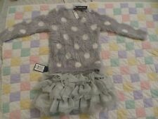 new designer baby girl grey white dots sweater tutu skirt dress 24m 2-3T