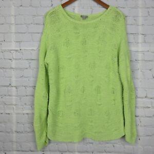 J-Jill-Womens-Long-Sleeve-Sweater-Handknit-Open-Knit-Drop-Shoulder-Green-Sz-M