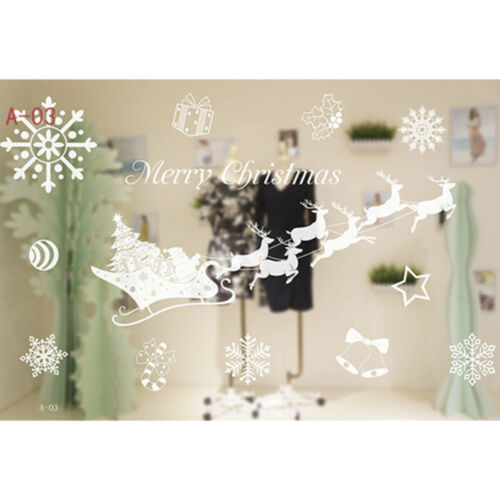 Christmas Shop Window Decoration Wall Stickers Christmas Snowflakes Town Decor