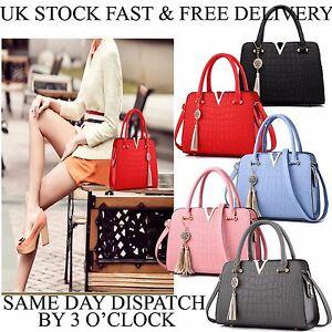 Vincenza-PU-Leather-Womens-Shoulder-Bags-Top-Handle-Handbag-Tote-Purse-Bag-UK