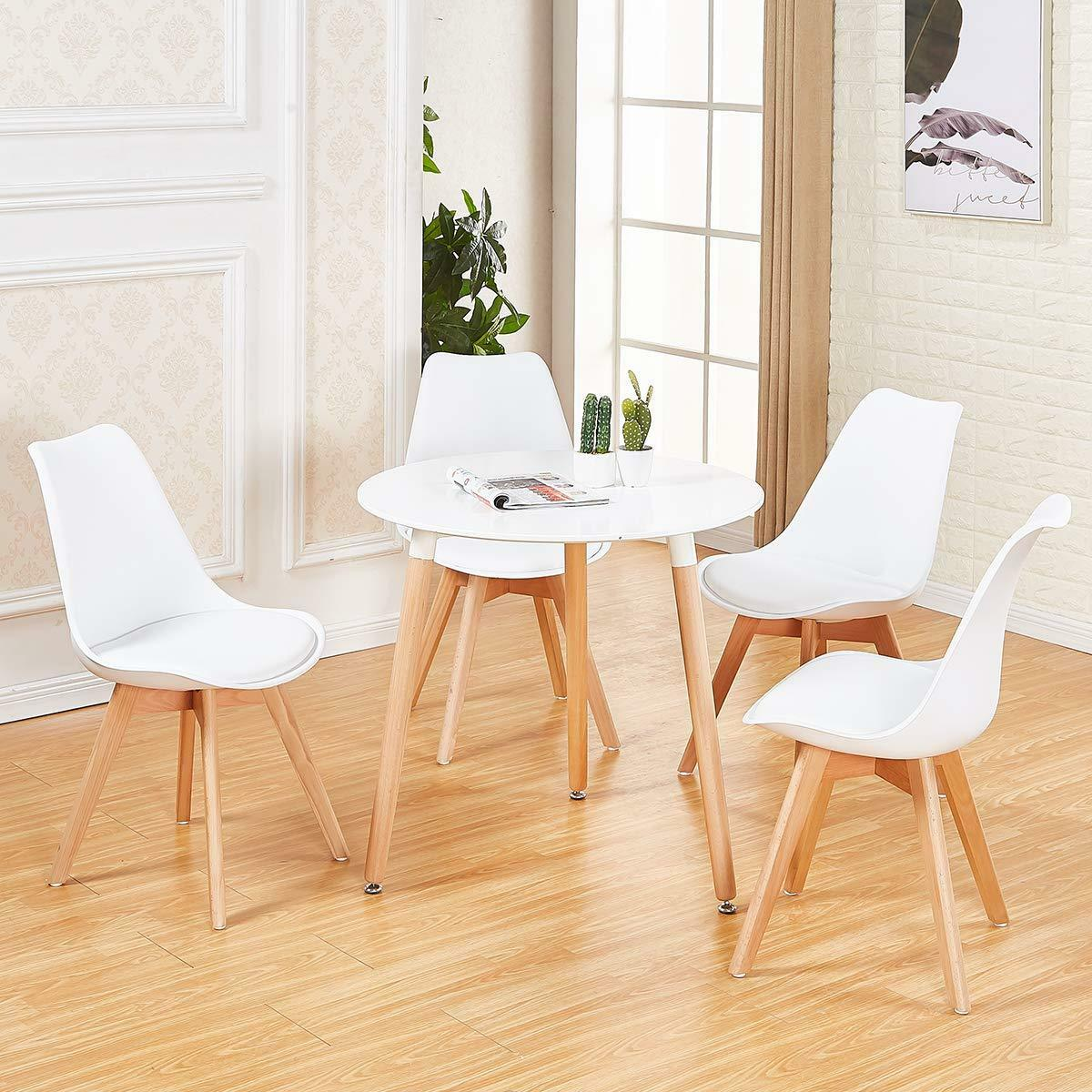 newest 6f8b1 8c1ca Details about White Round Dining Table And 4 Retro Dining Chairs Solid Wood  For Small Kitchen