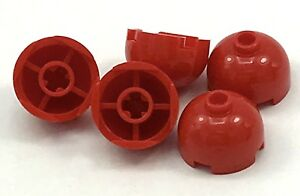 Lego-5-New-Red-Brick-Round-2-x-2-Dome-Top-Hollow-Stud-Bottom-Axle-Holder-Pieces