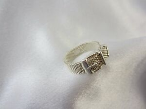 Tiffany-amp-Co-buckle-Ring-Guertelring-aus-Sterlingsilber