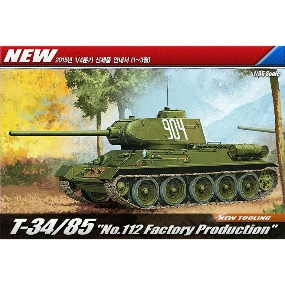 T34 85 Tank  no. 112 Factory Production  - 1 35 Plastic Kit By Academy - 135