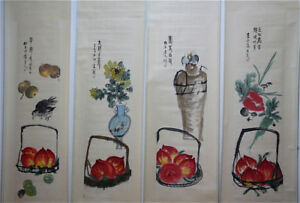 RARE-Chinese-100-Hand-Painting-4-Scrolls-Flowers-amp-Fruits-034-By-Qi-baishi-ZZ