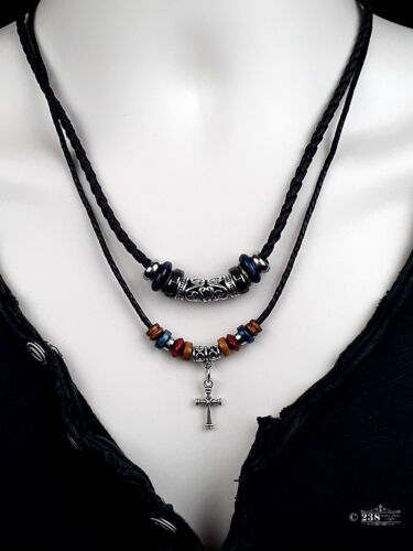 Mens Ladies Brown Leather Pendant Necklace Cross Beaded Surfer Punk Retro Design