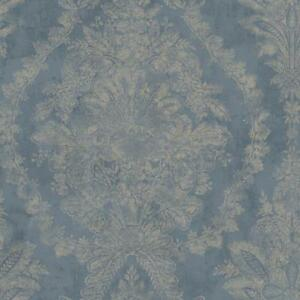 Wallpaper-New-Vintage-1850-Document-Print-French-Damask-Raised-Ink-Gold-on-Navy