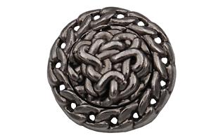 große silber Metall Knöpfe Jacke Mantel modern Ketten Design 28mm 6 Stück
