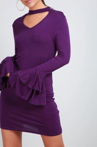 Ladies Long Bell Sleeve High Choker Neck Womens Keyhole Cut Out Shift Mini Dress