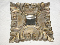 Three Hands Co Small Mirror In Ornate 3d Antiuqe Gold Resin Square Frame 9x9