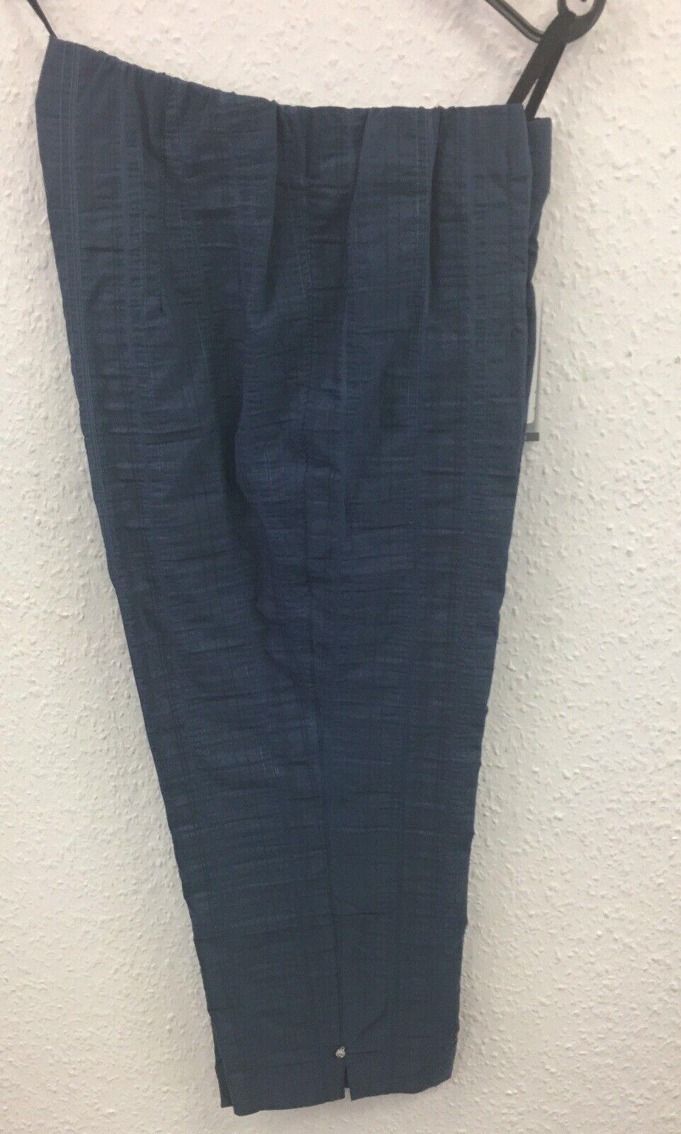 Kj Brand Capri Hose Susie blau Baumwolle Gummibund Damen Sommerhose Wash & Go