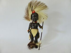 Vintage-1950s-Black-Celluloid-African-Warrior-Doll-Traditional-Dress-PMI-Doll