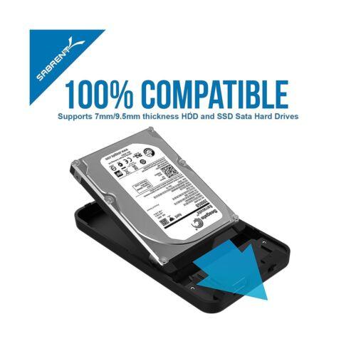 Sabrent 2.5-Inch SATA to USB 3.0 Tool-free External Hard Drive Enclosure Opt...