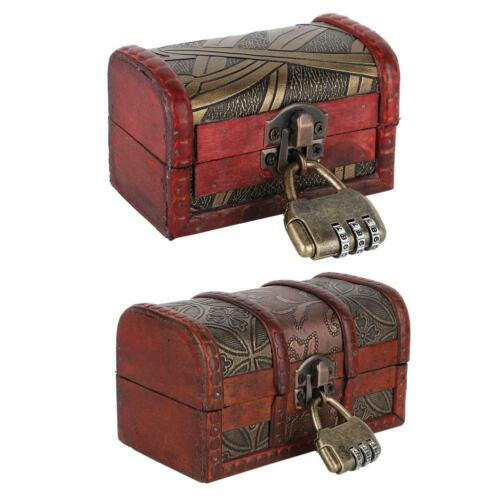 Wooden Vintage Jewelry Necklaces Bangles Organizer Storage Boxes With Coded Lock