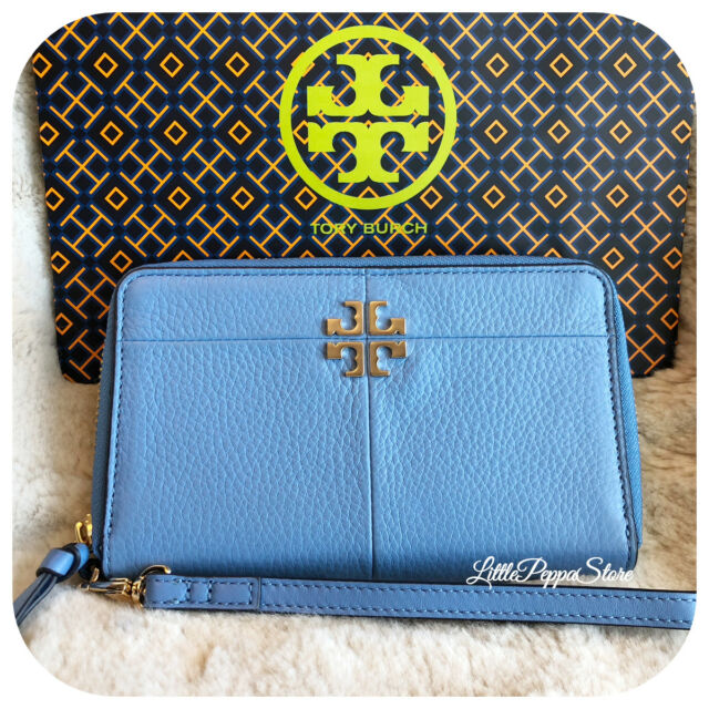 99f1f9c5414 Tory Burch Leather Ivy Smartphone Wallet Wristlet in Montego Blue ...