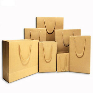 EP  Reusable Plain Brown Kraft Paper Bags with Handle Gift Birthday ... 985e8db79c