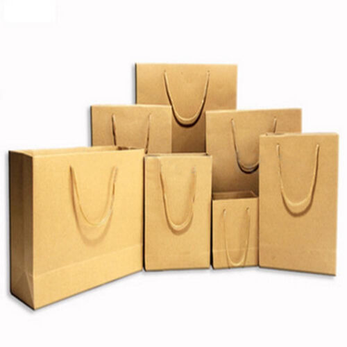 EG/_ Reusable Plain Brown Kraft Paper Bags with Handle Gift Birthday Shopping Stu