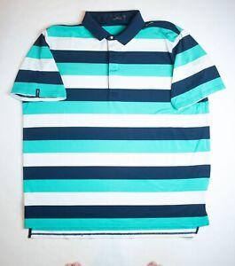 RLX-Ralph-Lauren-Golf-Mens-XXL-2X-Polo-Shirt-Green-Navy-White-Striped-SS
