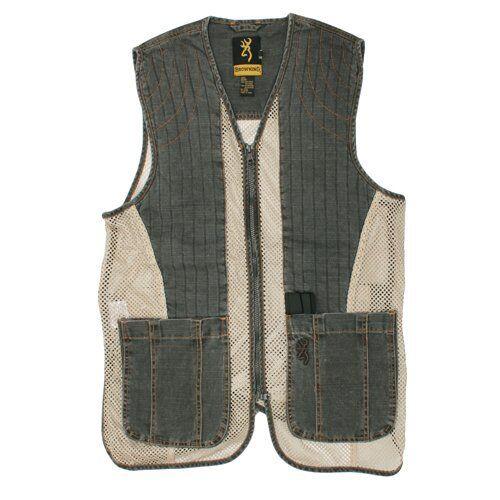 Browning Rhett Mesh Shooting Vest Charcoal Tan L 2X Skeet Trap Clay Pigeon