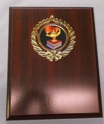 """lamp of knowledge black mylar trophy plaque brown plaque 4 1//2/"""" x 6/"""" gold plate"""