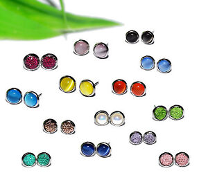 EDELSTAHL-Ohrstecker-FARBAUSWAHL-6mm-CATEYE-RESIN-ACRYL-Cabochon-Ohrring-Paar