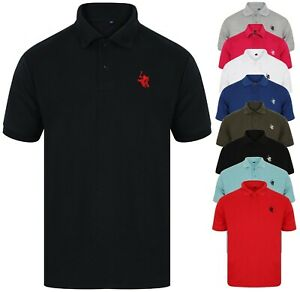 Polo-Shirt-Mens-Shirts-Tee-Top-Short-Sleeve-T-Shirt-Golf-Plain-Horse-New-Sport