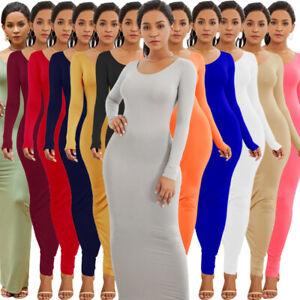 Women-Long-Sleeve-Dress-Bodycon-Plain-Stretchy-Slim-Pencil-Solid-Color-Clubwear
