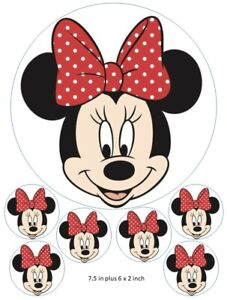 Peachy Minnie Mouse Cake And Cupcake Toppers Walt Disney Red Bow Funny Birthday Cards Online Necthendildamsfinfo
